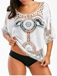 See Through Crochet Lace Beach Cover Up