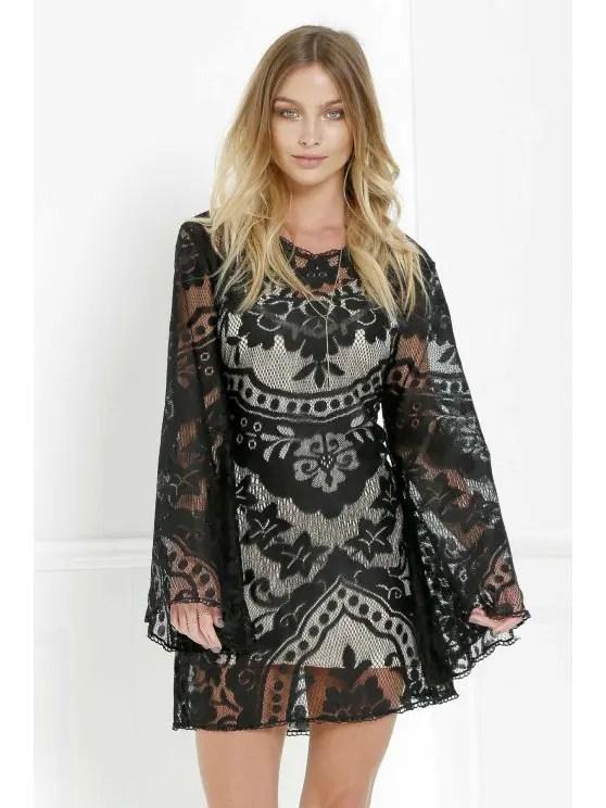 فستان أسود الدانتيل طويلة الأكمام مع فستان كامي Black