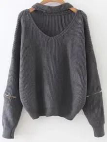 Zaful Zipped Oversized Choker Neck Sweater - Gray $19.99