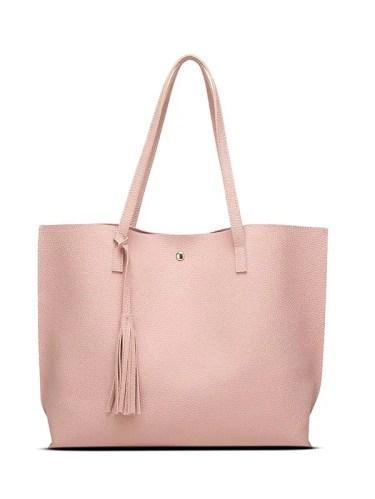 Textured PU Leather Tassel Shoulder Bag