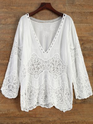 Firstgrabber Crochet Plunge Beach Cover-Up Dress