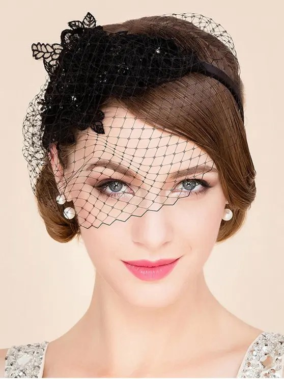 2018 Black Lace Veil Cocktails Headband Hat In BLACK ZAFUL