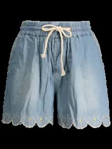 Elasticated Embroidered Denim Shorts