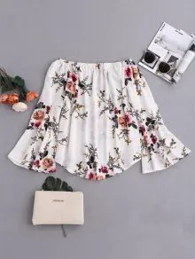 Zaful Floral Flare Sleeve Off Shoulder Blouse - White S $18.99