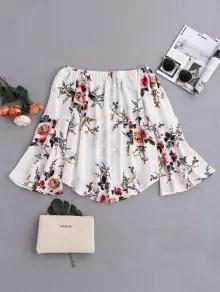 Zaful Floral Flare Sleeve Off Shoulder Blouse - White S $18.99
