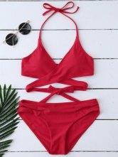 Ensemble Bikini Enveloppant Paddé à Col Halter  - Rouge S