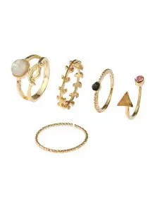 Zaful Alloy Faux Gem Triangle Leaf Ring Set - Golden $2.88