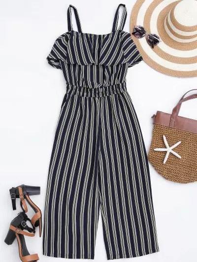 Cami Striped Shirred Waist Jumpsuit