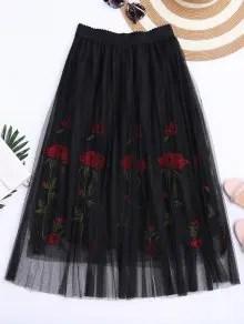 Zaful Embroidered High Waisted Mesh Skirt - Black $20.49