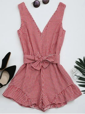 Image result for plunge red checkered dress