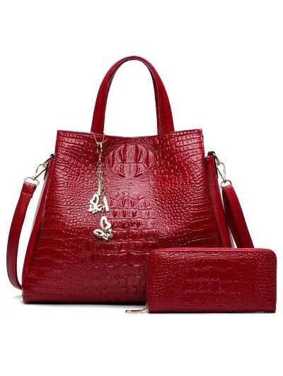 Crocodile Embossed Handbag Set