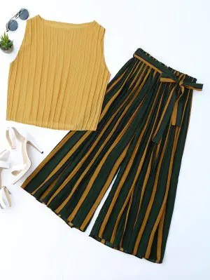 Firstgrabber Pleated Top with Color Block Striped Gaucho Pants
