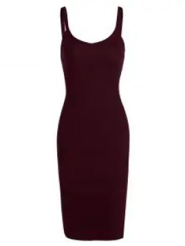 Zaful Side Slit Knitted Cami Sheath Dress - Wine Red $15.49