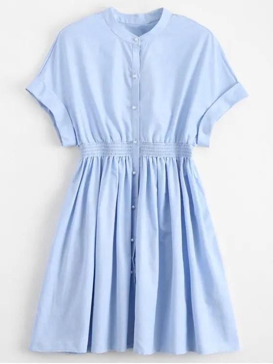 ed3023a6f81 Smocked Waist Button Up Casual Dress Light Blue M