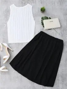 Pleated Top and Slit Contrast Skirt Set