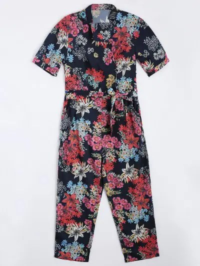 Belted Flower Straight Jumpsuit