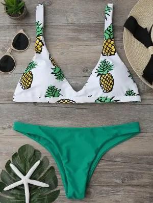 Firstgrabber High Cut Pineapple Print Bikini Set