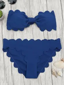 Padded Scalloped Bandeau Bikini Set - Deep Blue S