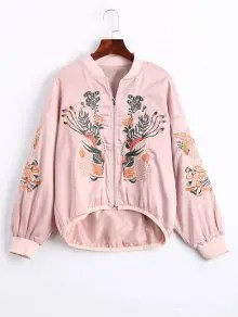 Floral Embroidered High Low Bomber Jacket