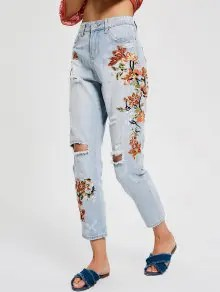 Zaful Floral Embroidery Destroyed Tapered Jeans - Denim Blue  $26.99
