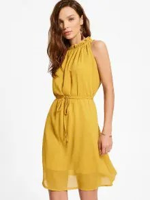 Zaful Ruffled Neck Sleeveless Chiffon Dress - Ginger -  $15.99