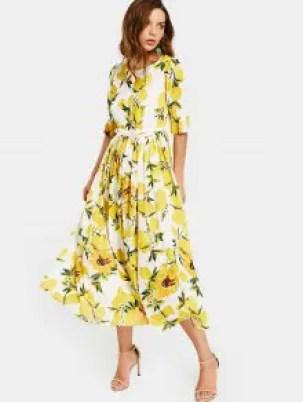 Zaful Lemon Print Belted Dress  - White And Yellow - $24.99