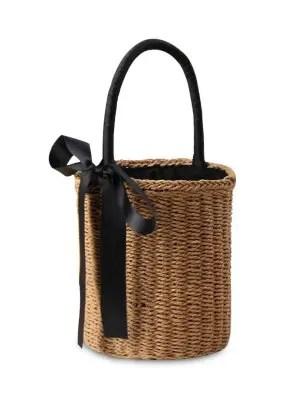 Cilindro em forma de sacola de fita de palha - camelo