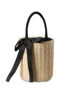 Cylinder Shaped Straw Ribbon Tote Bag