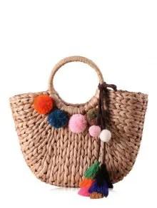 Straw Pom Pom Tassels Tote Bag