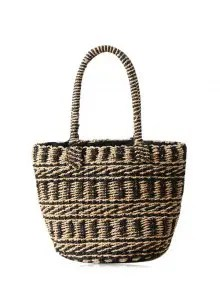 Color Block Straw String Tote Bag