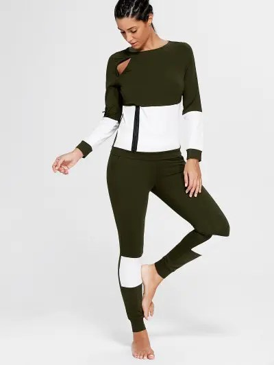 Zaful Color Block Zip Sweatshirt and Skinny Joggers