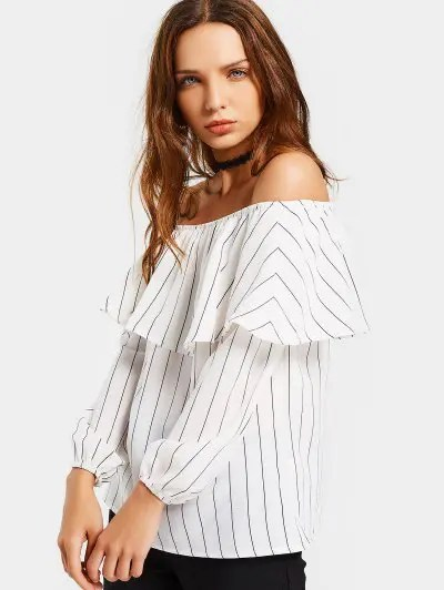 Zaful Off The Shoulder Flounce Striped Blouse