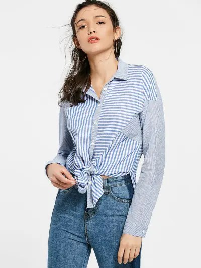 Zaful Button Up Striped Long Shirt