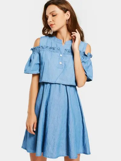 Zaful Cold Shoulder Ruffles A Line Dress