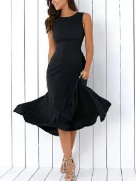 Zaful Sleeveless Round Neck Loose Fitting Midi Dress - Black L $11.99