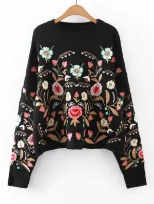 Oversized Floral Embroidered Sweater - Black S