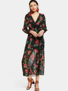 Split Sleeve Floral Print Plunge Maxi Dress