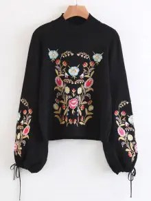Mock Neck Flare Sleeve Floral Embroidered Sweater