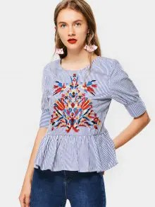 Floral Embroidered Stripes Flounces Blouse