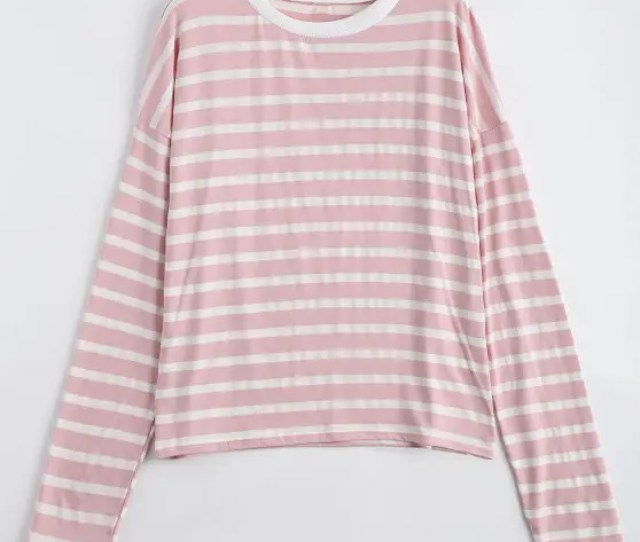Unique Drop Shoulder Striped Long Sleeve Tee Shallow Pink M