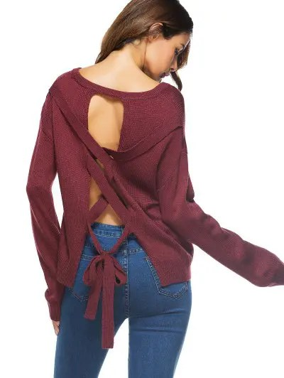 Cut Out Lace Up Sweater - Wine Red