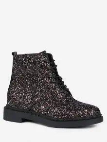 Lace Up Glitter Short Boots
