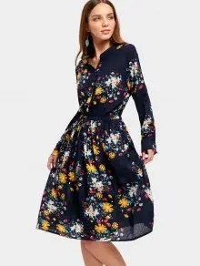 Drawstring Waist Long Sleeve Flower Dress - Floral M