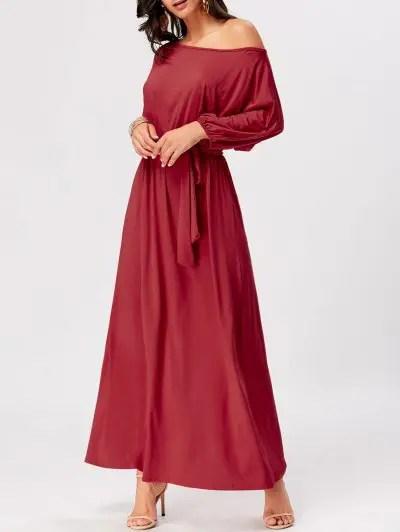 Zaful Boat Neck Belted Maxi Dress