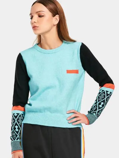 Zaful Contrast Geometric Graphic Sweater