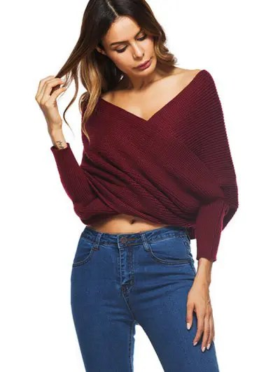 Zaful Crossed Front Chunky Wrap Sweater
