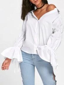 Chemise à Manches Longues Décapotable Surdimensionnée - Blanc - Blanc L