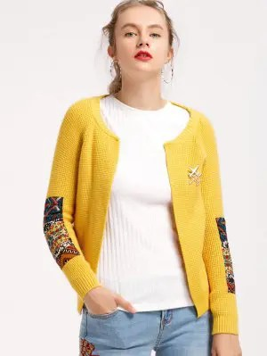 Open Front Elbows Patches Cardigan - Yellow