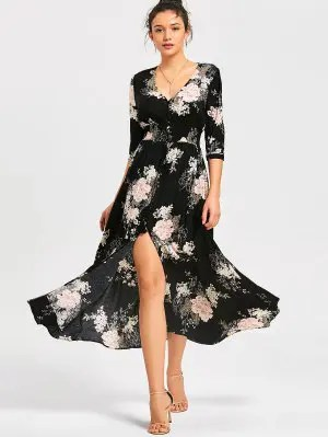 Front Slit Empire Waisted Floral Maxi Dress - Black L