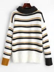Sélection shopping automne chez Zaful Turtleneck Stripes Pullover Sweater - Stripe